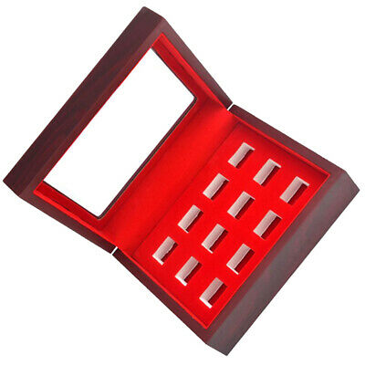 12 Holes Championship Rings Trophy Display Collection Case Wood Box Wine Red
