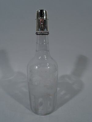 Hawkes Decanter - Antique Golf Golfing Barware   American Glass Sterling Silver