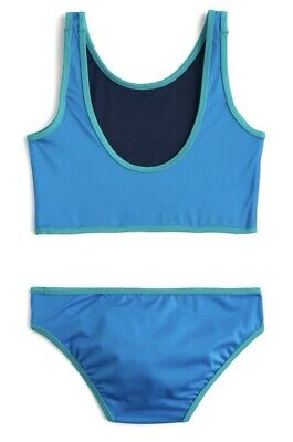 NWT Crewcuts Nordstrom Toddler Girls Two-piece Bathing Suit Blue Sz 2 $39.50 #07