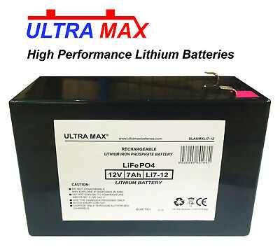 2 X ultra max 12V 7AH Lithium Ion LiFePO4 Pile Mobilité Medicare/Travellease