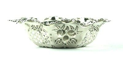Antique Victorian Sterling Silver Sweet Nut Dish Repousse Fruits Pierced 1897