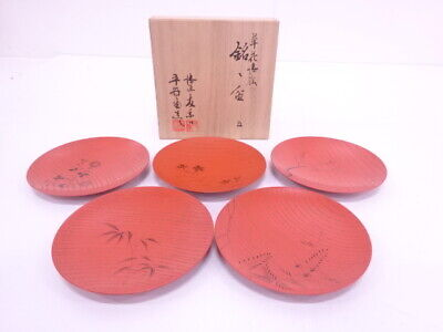 4001857: Japanese Lacquered Serving Plate Set Of 5 / Flower & Plant