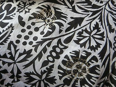 Anokhi Black & White 'Dacca' Indian Cotton Hand Block Print ½ Sarong/Scarf. BNWT