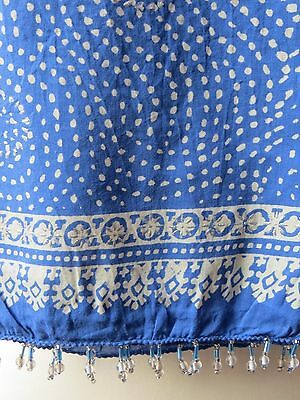 "Anokhi ""Crystal Blues pt 1"" Indian Cotton Hand Block Print Scarf. BNWT"