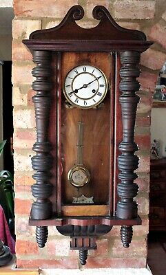 Antique German 8-Day Mahogany Case Striking Wall Clock, 19th Century