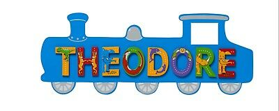 Large Blue Train Wooden Plaque / ANY NAME up to 7 letters