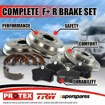 Front + Rear Protex Disc Brake Rotors Pads Drums Shoes For Honda City VF 84-86