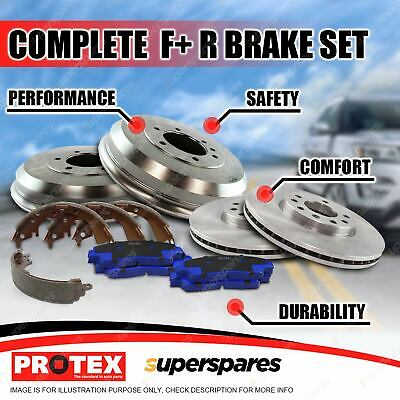 Front + Rear Disc Brake Rotors Pads Drums Shoes For Mitsubishi Lancer CH ES 2L
