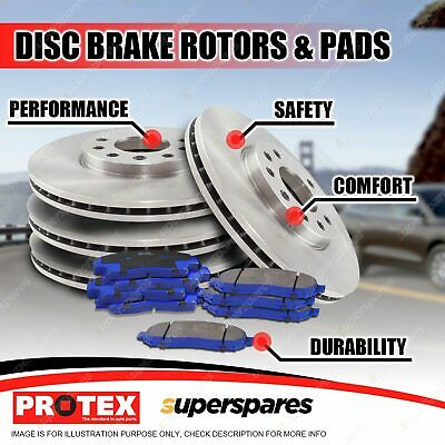 Front + Rear Protex Disc Brake Rotors Brake Pads for Subaru Forester SG 2/02-08