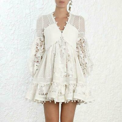 9d164c56564 Ladies White Ruffle Lace Cutout Dot Tassels Dresses Mini Skirts Casual  Style Y65