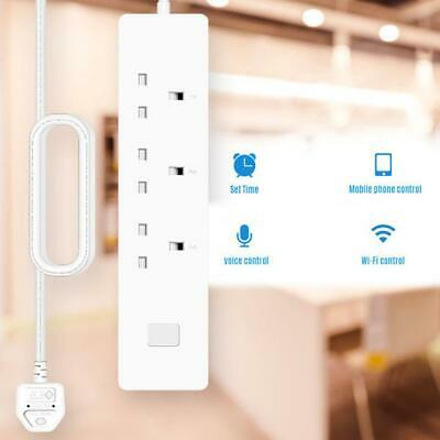 Smart WiFi Power Strip UK Plug 3 Sockets 2 USB Ports Voice Control Timer