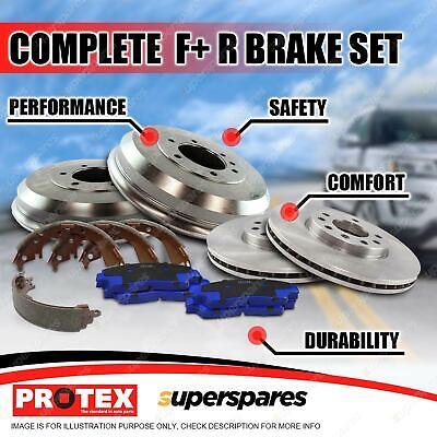 Front + Rear Protex Disc Brake Rotors Pads Brake Drums Shoes For Mazda BT-50 2WD