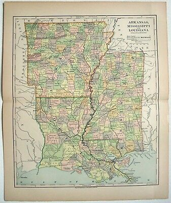 Original 1882 Map of Arkansas, Mississippi and Louisiana by Phillips & Hunt