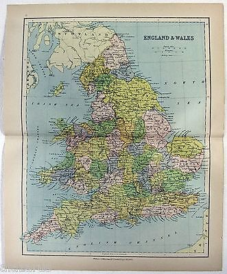 Original 1875 Map of England & Wales by Wm Collins Sons & Co. Antique