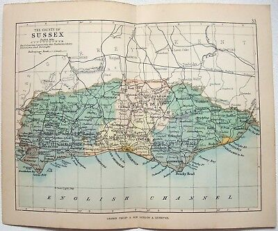 Original Philips 1892 Map of The County of Sussex, England