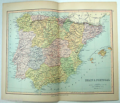 Original Map of Spain & Portugal by Wm Collins Sons & Co 1875. Antique