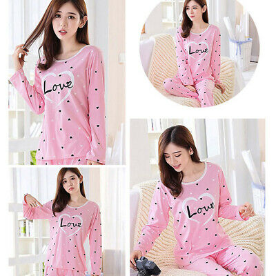 Women Casual Long Sleeve Nightwear Loose Cartoon Winter Homewear Pyjamas 8C