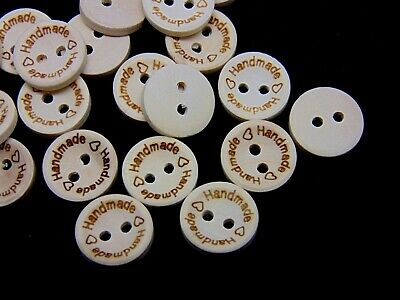"15mm Round Natural Wooden "" HANDMADE "" BUTTONS Crafts Sewing Label UK ML"