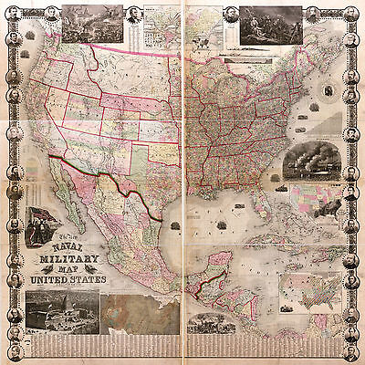 1862 Naval Military US Civil War Map History Vintage Antique Wall Poster Decor