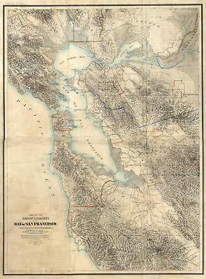 1867 Geological Survey Map of The Bay Of San Francisco California Wall Poster