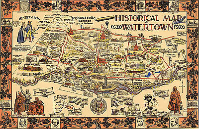 24x32 1630 Virginia Colonial Jamestown Historic Vintage Style Wall Map
