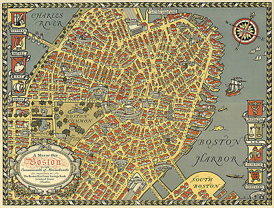 1922 Map of Old Boston in the Commonwealth of Massachusetts Wall Poster Print