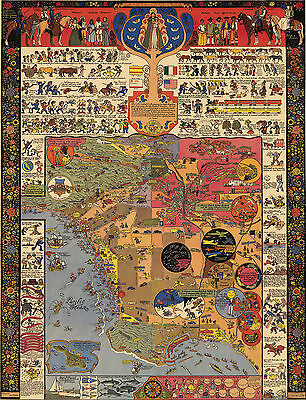 Los Angeles Pictorial LARGE Wall Map Historical Recreational Art Poster Print