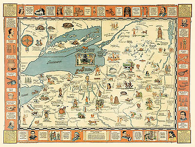 Early Map Indian episodes New York State Hodenosaunee Native American Wall Print