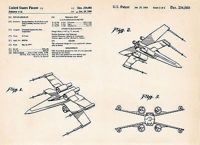 Star Wars X-Wing Fighter Patent Poster Prints Artwork Gift Ideas Movie Official