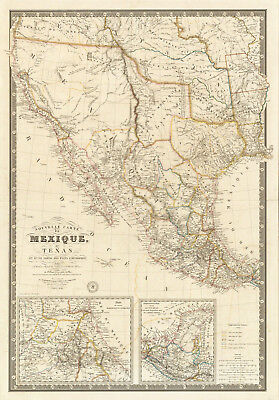 1840 French Map of Pre-War Mexico Texas Wall Art Poster History Home School