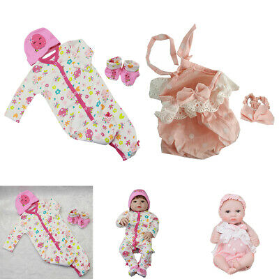 2 Sets Lovely Reborn Doll Outfits - Princess Dress Rompers Headband Clothes