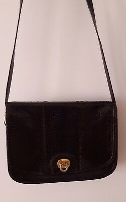 Borsa in vero serpente vintage colore marrone con tracolla pelle rettile bag 07ad09e5bde