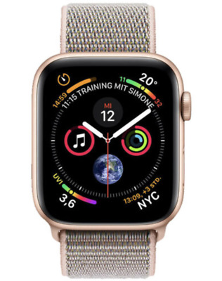 Apple Watch Series 4 40mm Aluminiumgehäuse in Gold mit Sport Loop in Sandrosa