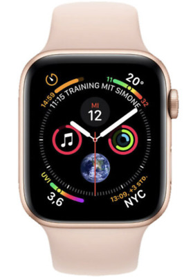 Apple Watch Series 4 40mm Aluminiumgehäuse in Gold mit Sportarmband in Sandrosa