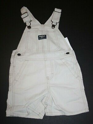 New OshKosh Boys Khaki Brown Robot Short Overalls NWT  3t 18m 24m Robots Vestbak