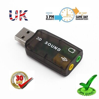 External Virtual USB 3D 5.1 Channels Stereo 3.5mm Sound Card Mic Audio Adapter