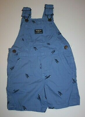 04d20eb2a New OshKosh Boys Blue Dinosaur Embroidery Short Overalls NWT 2T 3T 4 5T  VestBak