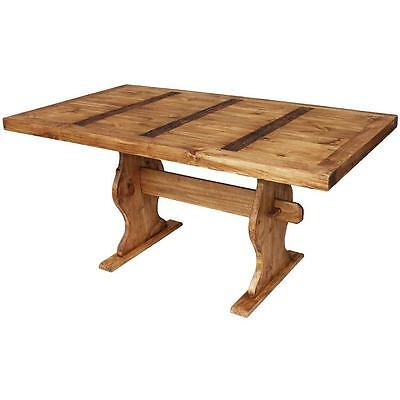 Solid Rustic Wood Trestle Dining Table Antique Vintage Style for Country Home