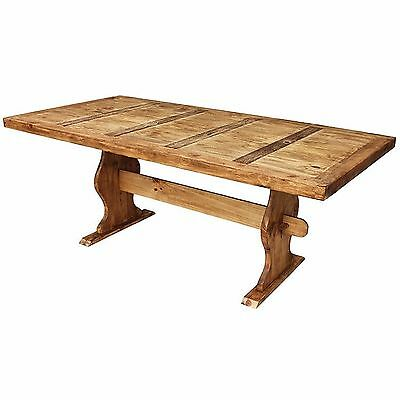 Antique Solid Rustic Wood Large Trestle Dining Table Vintage for Country Home