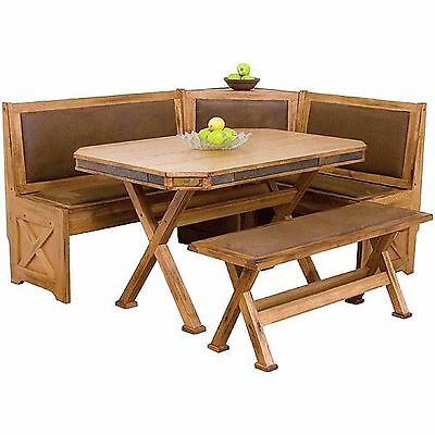 Antique Rustic Solid Oak Wood Dining Set Vintage Country Style Breakfast Nook