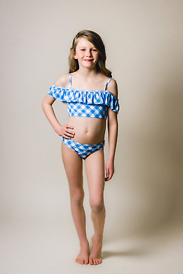 1032ca639b Gingham Buffalo Check Swimsuit two piece Blue bathing suit Girls 6 7 8 10  12 14