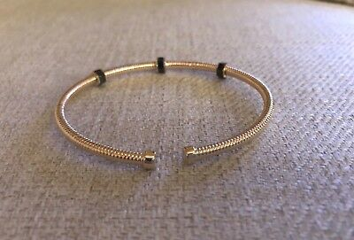3716968d5 14K Pretty Yellow Gold Hammered Cuff bracelet With Onyx Bolts 6.1 Grams