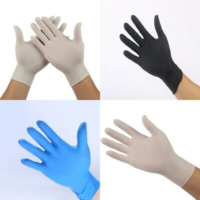 Pack Comfortable Rubber Disposable Mechanic Nitrile Gloves Exam 3 Colors