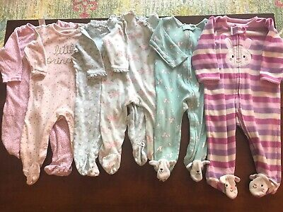 b518e6e51 LOT OF 6 Baby Girl Sleepers Footie Pjs Pajamas 6-9 Months Carters ...