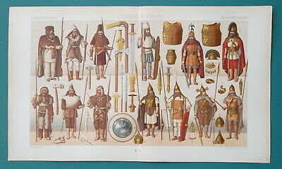 BARBARIANS Enemies of Romans Costume Arms - COLOR Litho Print A. Racinet