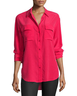 f66ef9815 Equipment Slim Signature Rosetta Pink Silk Button Up Blouse Top, Size XS