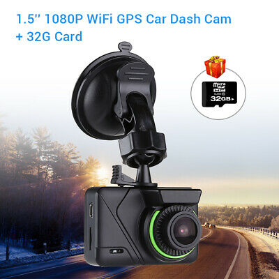 F1.8 Sony IMX323 1080P 30FPS Wi-Fi GPS Car Dash Cam Mini DVR Night Vision + 32GB
