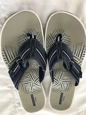 b2bf373a2e34 CLARKS SANDALS BRINKLEY Jazz Womens Flip Flop Size 10 M Navy New ...