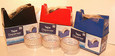 Desktop Heavy Duty Weight Sellotape Cello Tape Dispenser Holder 6 Free Rolls