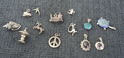 925 Sterling Gem Set Pendants + Silver Charms + Unmarked Maybe Silver Charms #17